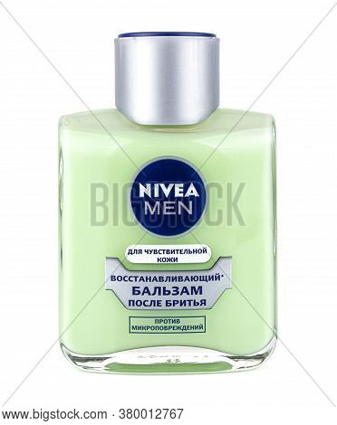 Moscow, Russia - July 19, 2020: Nivea Men Regenerating Aftershave Balsam For Sensitive Skin In A Gla