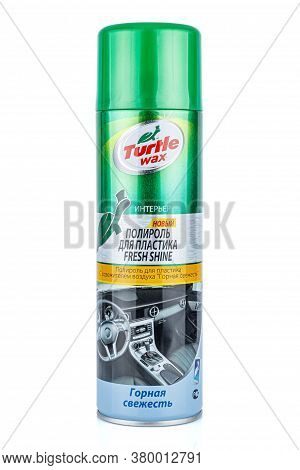 Moscow, Russia - July 22, 2020: Turtle Wax Polish For Plastic Fresh Shine With Air Freshener Mountai