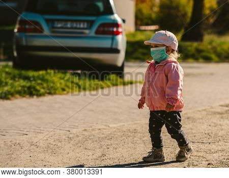 Young Girl With Mask Outdoor, Covid Epidemic