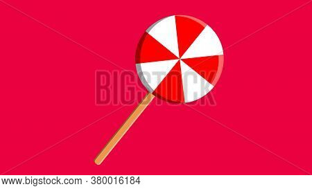 Red Swirl Lollipop Sucker Or Lolly Candy Flat Vector Icon For Apps And Websites.