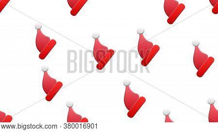 Seamless Christmas And New Year Pattern Of Droll Santa Hats.