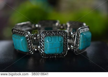 Accessories Turquoise Bangle It Is A Bangle Made Of Silver, Adorned With Blue Turquoise.