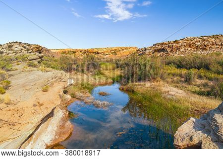 View Of Small Creek From The Delicate Arch Trail. Small Oasis In The Desert. Arches National Park. U
