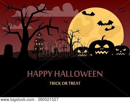 Happy Halloween Background With A Picture Of A Pumpkin, The Night Sky, The Moon And The Atmosphere O