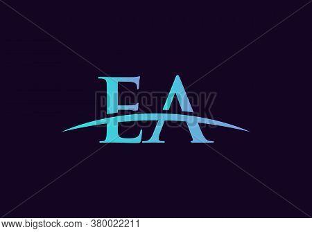 Ea Logo Vector. Swoosh Letter Ea Logo Design For Business And Company Identity.