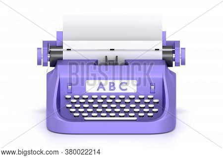 3d Render Typewriter With Paper For Writing Books. Isolated On White Concept Classic Technology For
