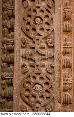 Close View Of Attractive Pattern Sculpted On Stone Pillar At Gwalior Fort, Gwalior, Madhya Pradesh,