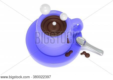 3d Render Of Top View Of Blue Cup With Coffee Illustration. Bright Mug With Hot Drink Cartoon Design