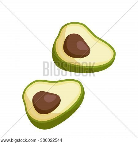 Avocado Drawing. Whole Avocado With Leaf And Half With Seed Isolated On White Background.