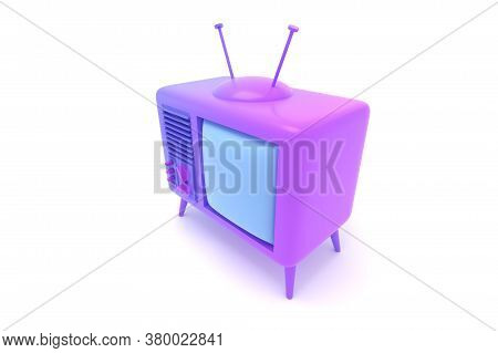 Tv Set 3d Render Isolated On White Illustration. Retro Purple Television With Blank Screen Cartoon D