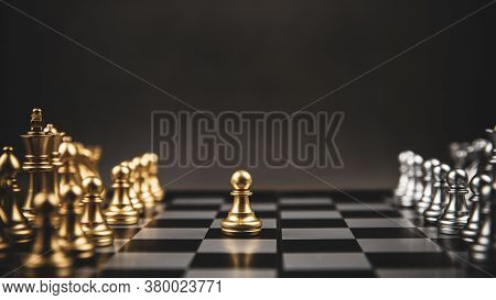 Gold And Silver Challenge Chess Team On Chess Board Concept Of Business Strategic Plan And Professio