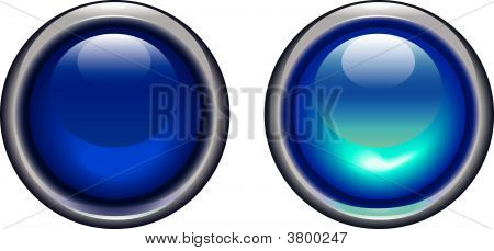 Blue On Off Buttons In A Metallic Rim