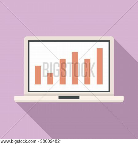 Laptop Conversion Rate Graph Icon. Flat Illustration Of Laptop Conversion Rate Graph Vector Icon For