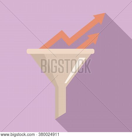 Conversion Rate Graph Funnel Icon. Flat Illustration Of Conversion Rate Graph Funnel Vector Icon For