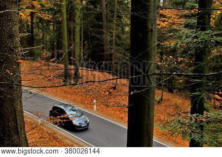 Autumn Travel And Trips.road View.autumn Landscape. Car On The Autumn Road. Fall Season.autumn Time.
