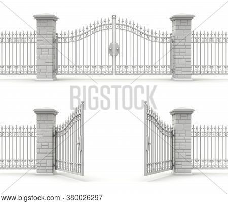 Clay Render Of Open And Closed Iron Gate - 3d Illustration