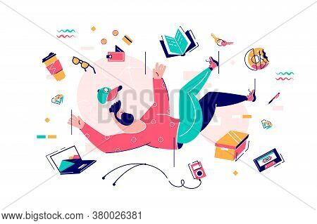 Bearded Man Fall In Bustle With Food, Device And Book. Isolated On White Flat Chatacter Concept Illu