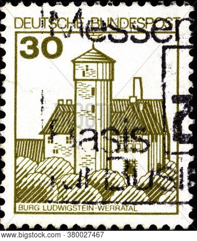 02 09 2020 Divnoe Stavropol Territory Russia The Postage Stamp Germany 1977 Palaces And Castles Ludw