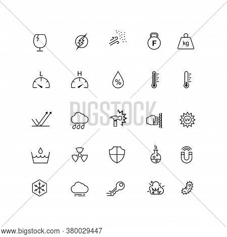 A Set Of Icons For The Resistance Of A Material, Such As Heat Resistance, Impact Resistance, Water P