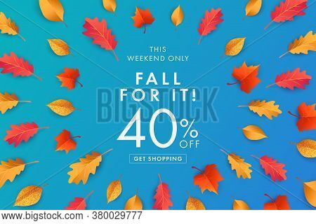 Autumn Sale Blue Background, Banner, Poster Or Flyer Design. Vector Illustration With Bright Beautif
