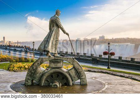 Niagara falls, Canada-Oct 28, 2019: Monument of Nikola Tesla at  Niagara Falls - Ontario, Canada.