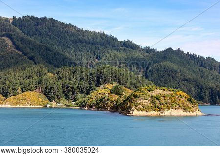 View Of The Beautiful Coastline In The Marlborough Sounds Near Picton On The South Island Of New Zea