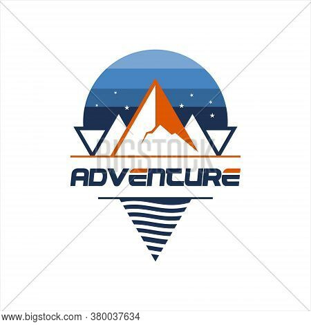 Mountain Logo Simple River Creek And Compass Sky Nature Hill Vector Design Template