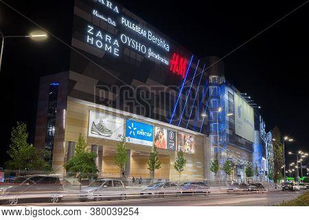Kiev, Ukraine - August 08, 2020: Shopping Center On The Embankment Of The Dnieper River. The Photo W