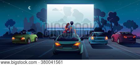 Drive Cinema Or Car Movie Theater, Auto Theatre, Vector Cartoon Outdoor Screen Background. Car Cinem