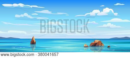 Sky And Sun At Sea Background, Ocean And Beach Vector Island Scenery Empty Flat Cartoon. Ocean Or Se