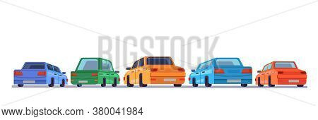 Cars Standing Rear Backs, Cartoon Vehicles Backside On Parking, Vector Isolated Icons. Cartoon Autom