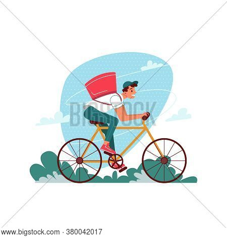 Delivery Courier On Bicycle With Parcel, Delivering Express Order, Vector Flat Cartoon Isolated. Cou