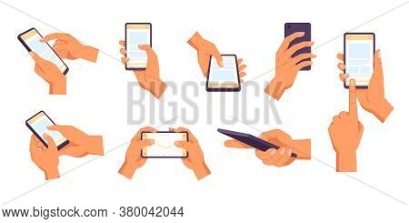 Hand Holding Smartphone. Vector Icon Of People Hold Smartphone Or Using Touch Gestures For Mobile Ph