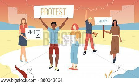Meeting And Protest Concept. Young Male And Female Characters Came To Outspeak Their Opinion. Protes