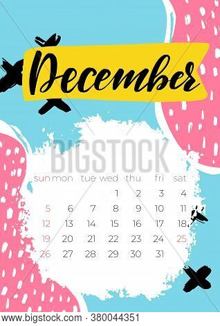 December 2021 Calendar In Modern Style. Creative Vector Illustration.