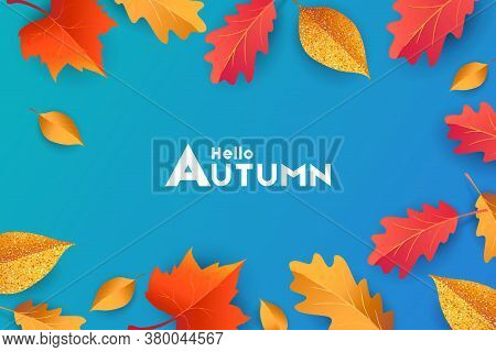 Autumn Seasonal Background With Border Frame With Falling Autumn Golden, Red And Orange Colored Leav