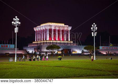 Hanoi, Vietnam - January 09, 2016: Late Evening At The Ho Chi Minh Mausoleum