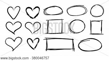 Vector Black Simple Hand Drawn Frames And Hearts, Geometric Shapes, Rough Sketched Brush Strokes, Ma