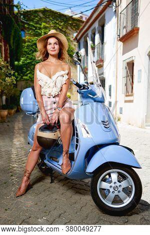 Portrait Girl Motorbike Driver On The Street