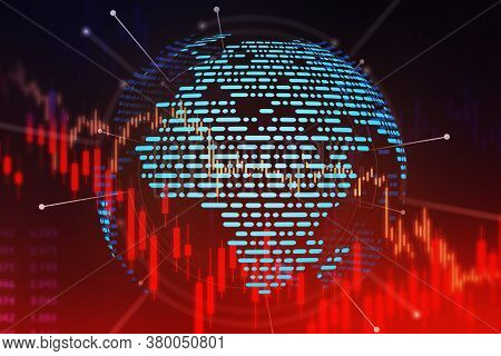 Hologram Of Planet Earth Over Blurry Black And Red Background With Double Exposure Of Red Graphs. Co