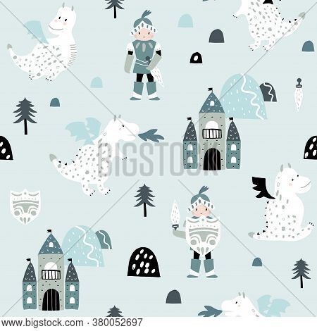 Childish Seamless Pattern With Knight, Dragon And Castle In Scandinavian Style. Creative Vector Chil