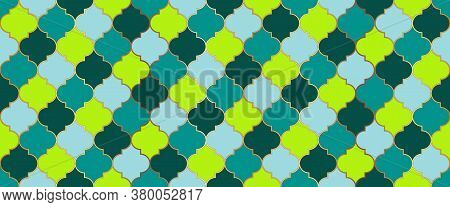 Seamless Moroccan Mosaic Pattern. Traditional Ramadan Golden Mosque Shape. Ramadan Kareem Muslim Bac