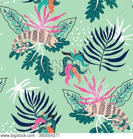 Seamless Tropical Pattern With Iguanas On Leaves. Jungle Summer Background. Perfect For Fabric Desig