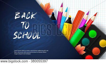 Back To School - Blackboard With School Supplies. Vector