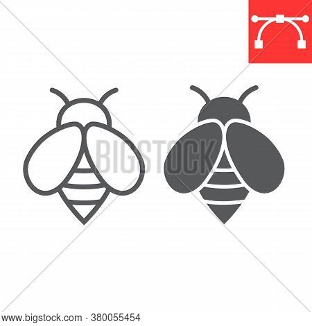 Bee Line And Glyph Icon, Insect And Honey, Bee Sign Vector Graphics, Editable Stroke Linear Icon, Ep