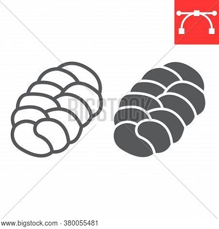 Challah Line And Glyph Icon, Bread And Loaf, Braided Bread Sign Vector Graphics, Editable Stroke Lin