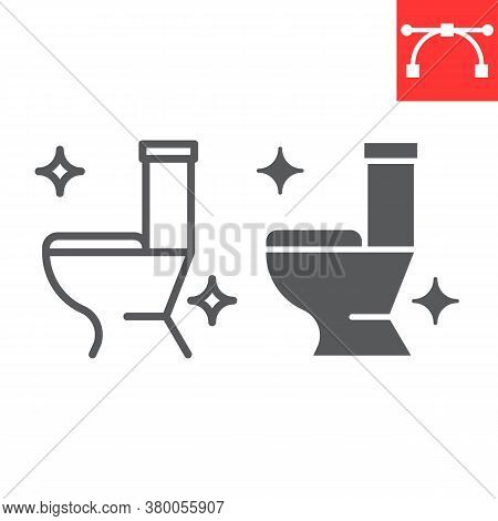 Toilet Line And Glyph Icon, Hygiene And Disinfection, Clean Toilet Sign Vector Graphics, Editable St