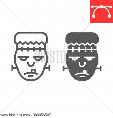 Frankenstein Line And Glyph Icon, Halloween And Scary, Zombie Sign Vector Graphics, Editable Stroke