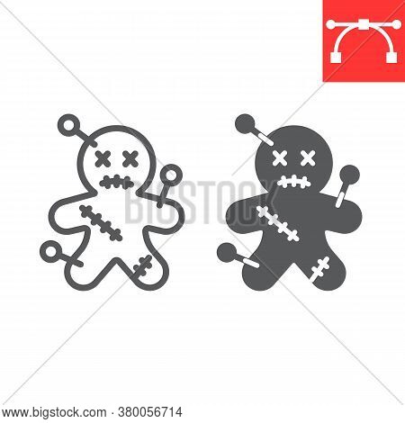 Voodoo Doll Line And Glyph Icon, Halloween And Scary, Voodoo Doll Sign Vector Graphics, Editable Str