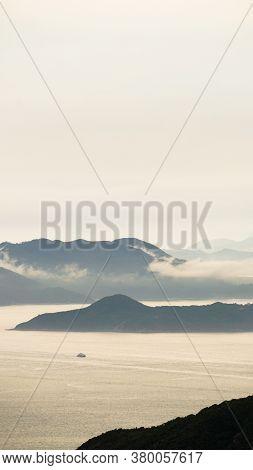 Hong Kong Ocean Sunset Mountain Heaven Background Nautical Vessel Cargo Ship Industry